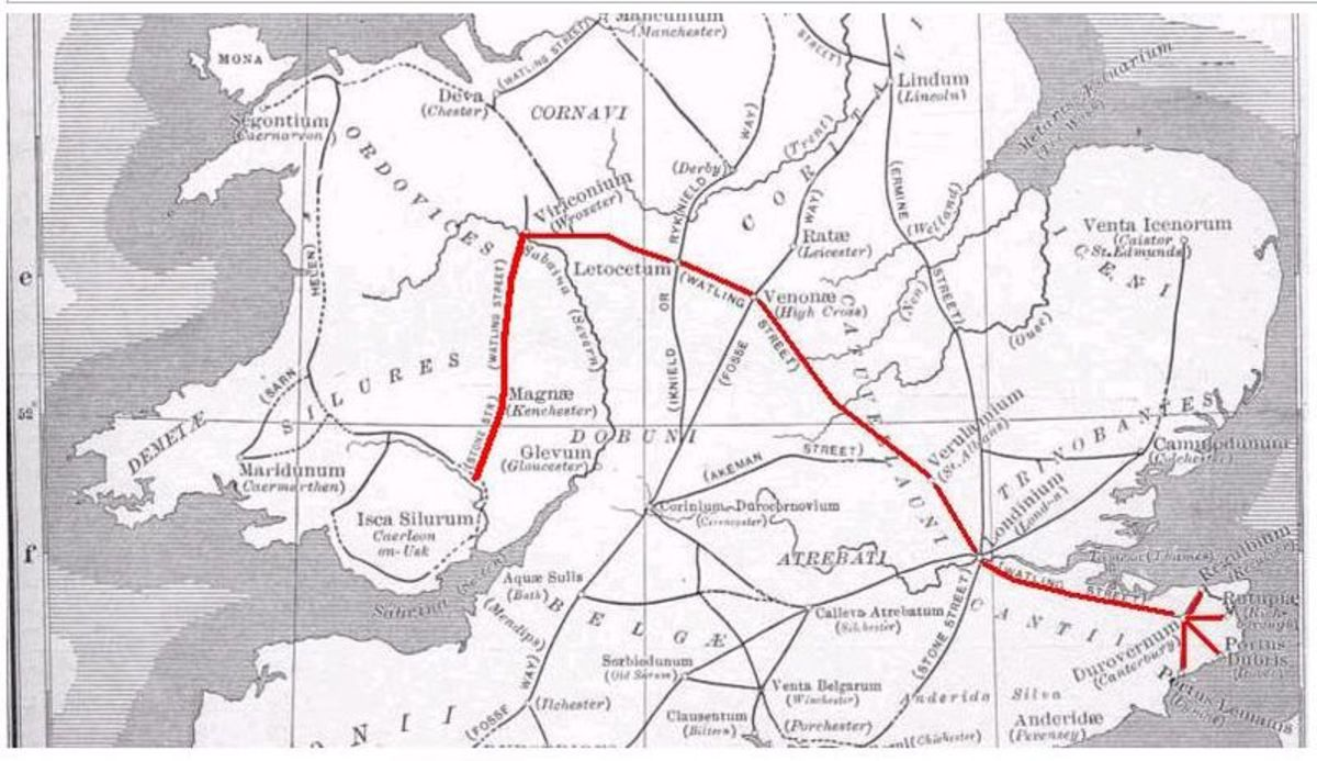 A map showing Watling Street, the route on which most historians place the final battle of the Boudiccan Rebellion.