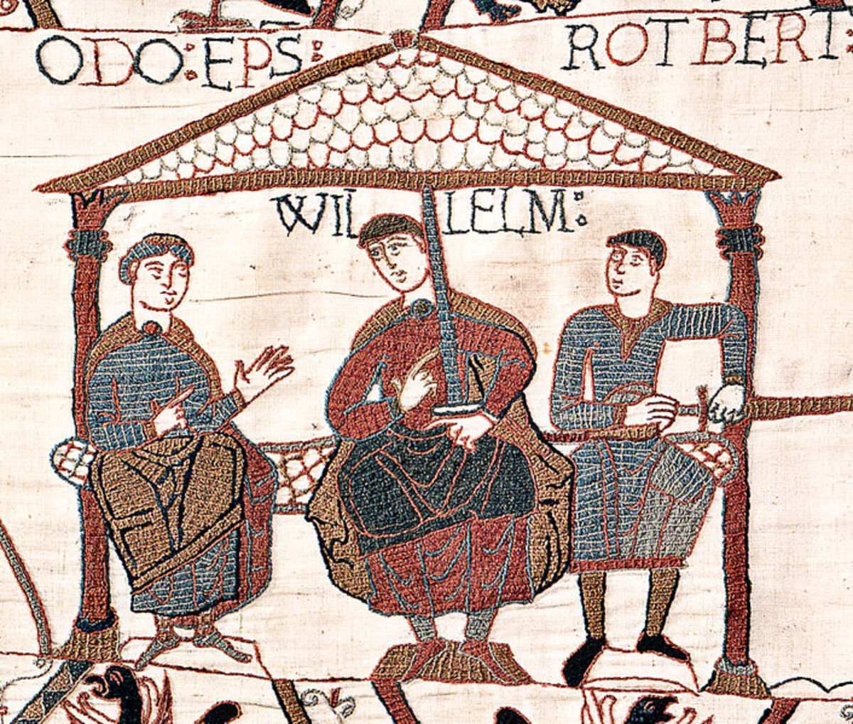 Also from the Bayeux wall hanging - some would argue it is not a tapestry - a view of (left-right) Bishop Odo, Duke William and Robert of Mortain