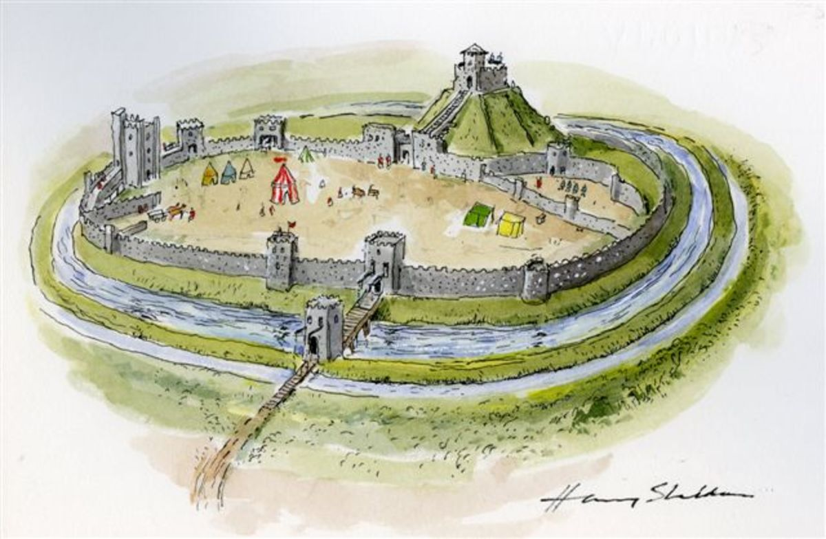 Artist's impression of stone-built Berkhamstead Castle with customary 'motte' (inner mound area) and 'bailey', outer walled defensive area. A drawbridge links the gatehouse with surrounding land. Inner gateway guards access to the 'keep' (tower)