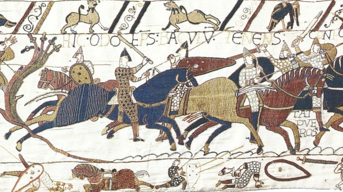The charge against the English line on the Bayeux Tapestry