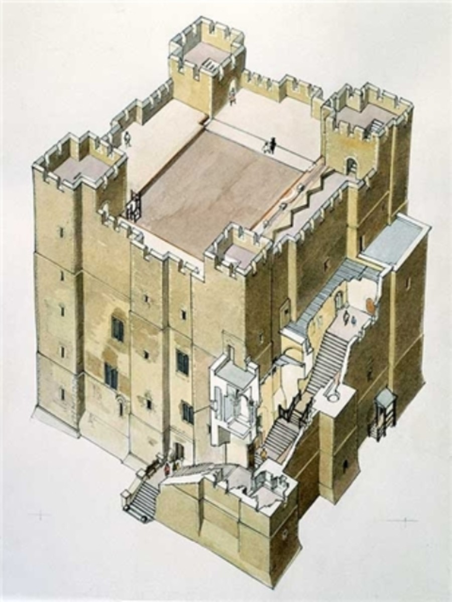 Norman castle - keep with exploded view of the outer staircase. There was a standard castle design that builders conformed to, although there were variations. At first built of timber, within a few years the material of choice would be stone