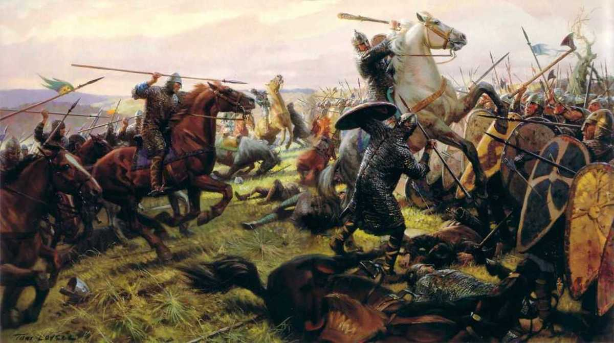 Charging King Harold's shield wall atop Caldbec Hill, the Normans and their allies come within grasp of their duke's ultimate aim. Half-brothers Robert and Odo were his stalwarts