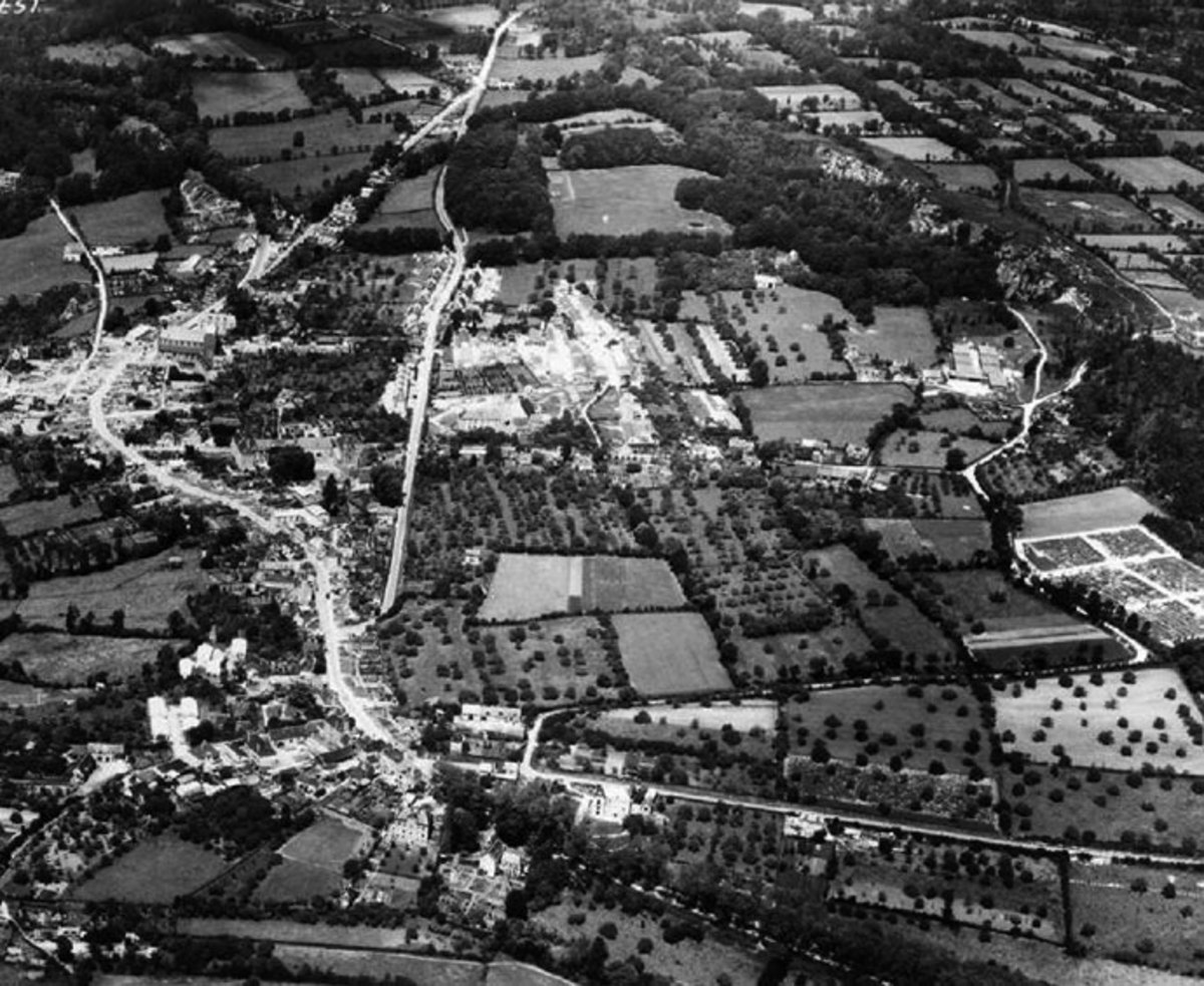 Aerial view over the County of Mortain in mid-20th Century