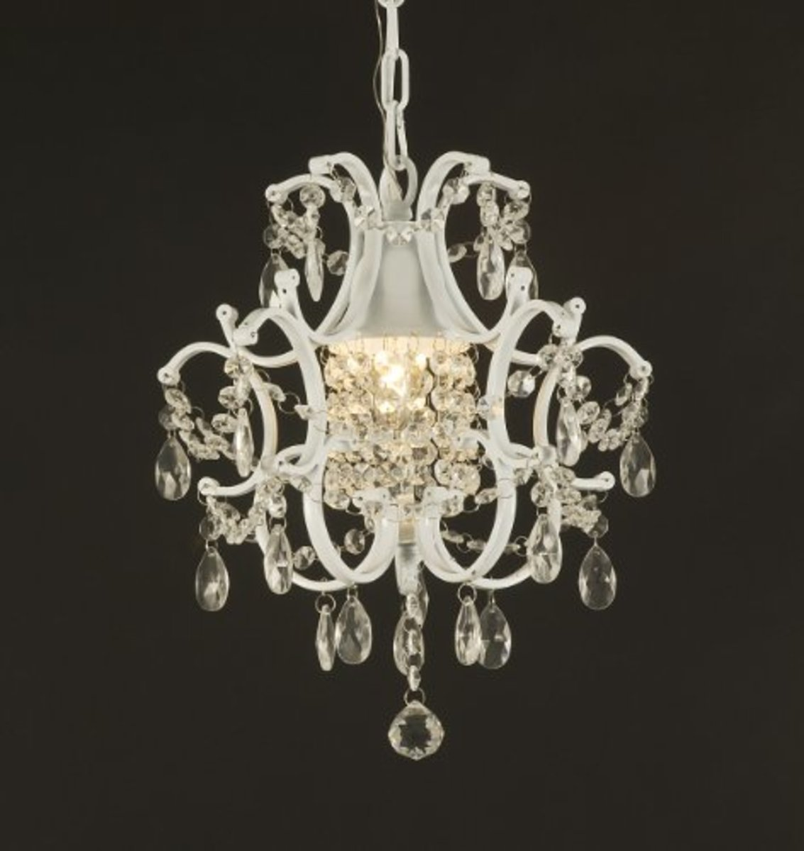 White Mini Wrought Iron Bathroom Chandelier with Crystals