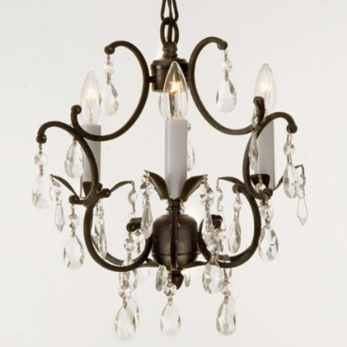 Wrought Iron Bathroom Chandelier with Crystals
