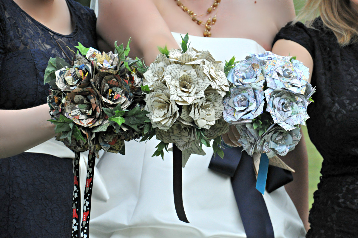 These bouquets are made out of recycled comic books, book pages, and maps respectively.