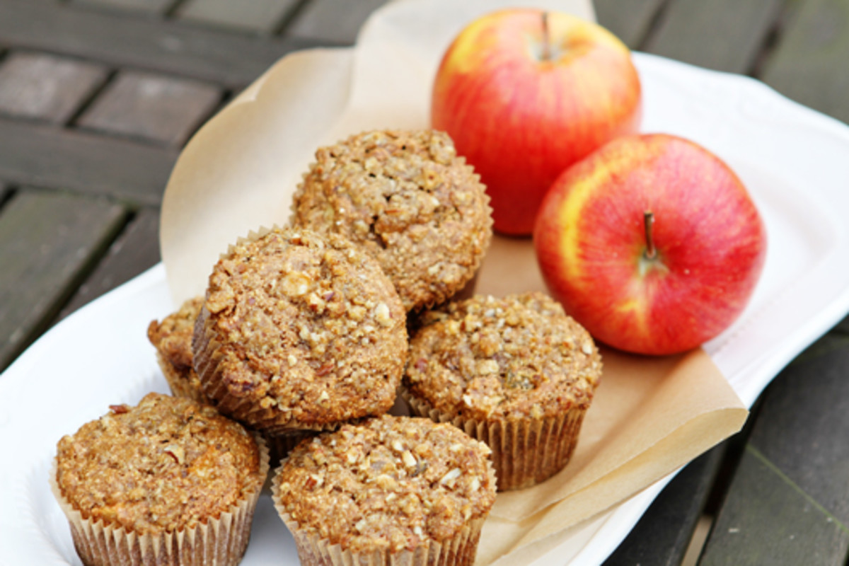 Delicious apple and oat bran muffins.