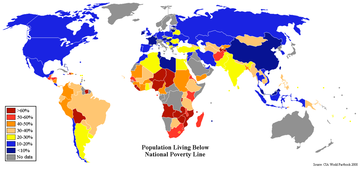Percentage of the world in poverty