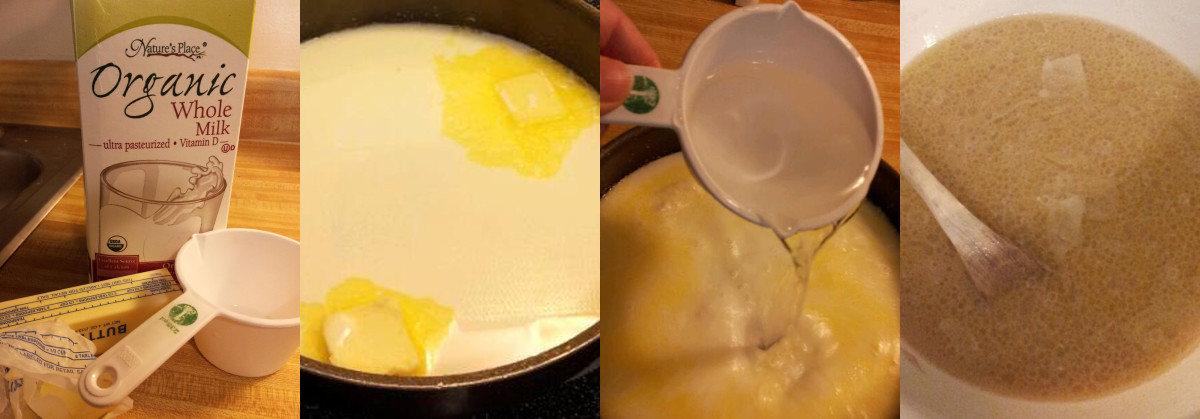 Isn't the melted butter pretty? Don't forget to cool the milk with the water before adding it to your yeast mixture.