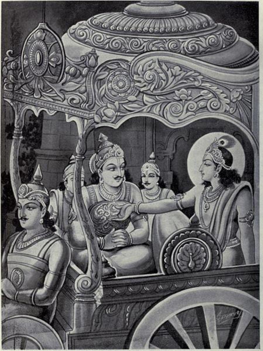Krishna explains to Karna