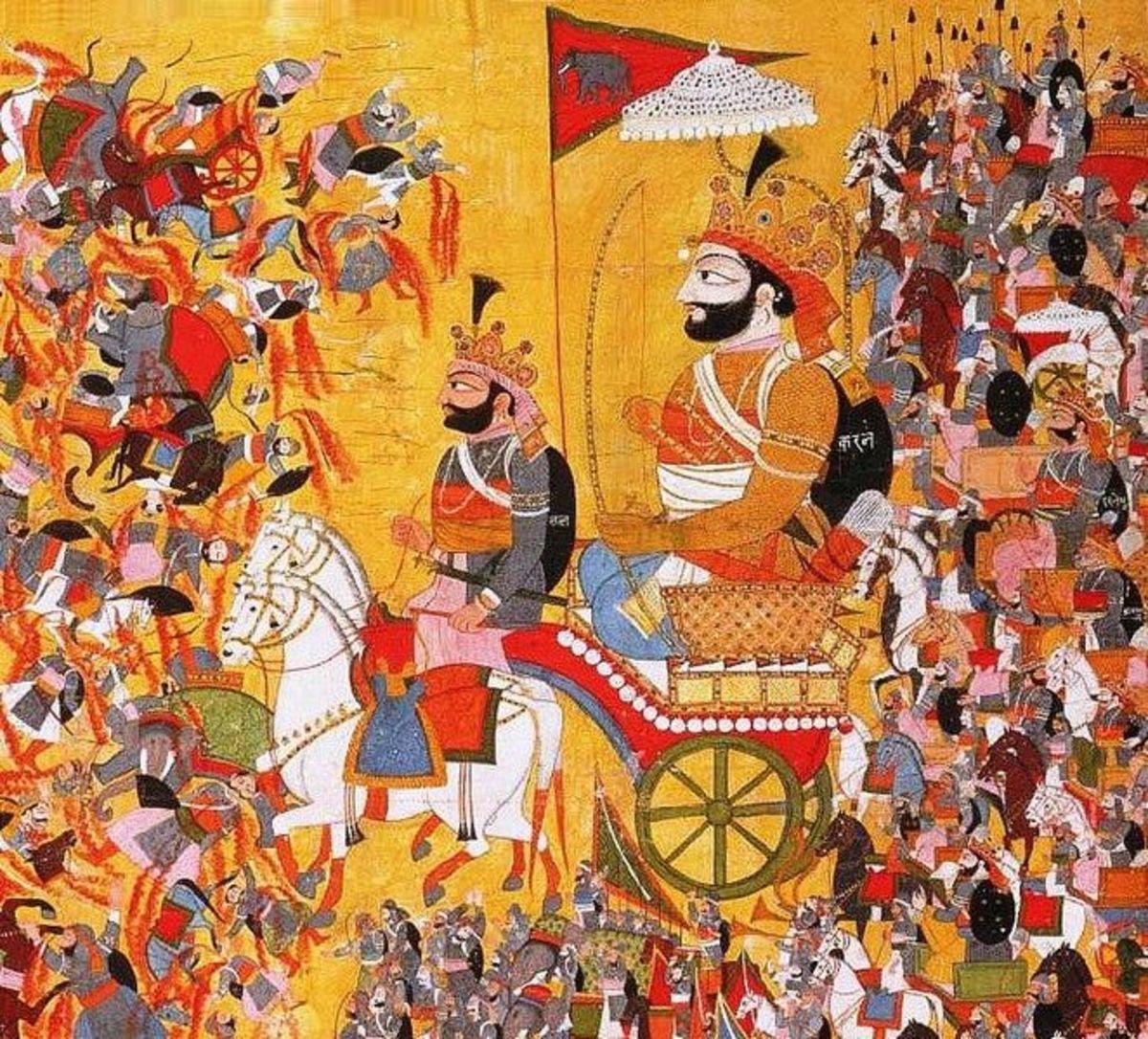 La pintura representa la batalla de Kurukshetra de la epopeya Mahabharata.  Karna, comandante del ejército Kaurava se ve aquí.