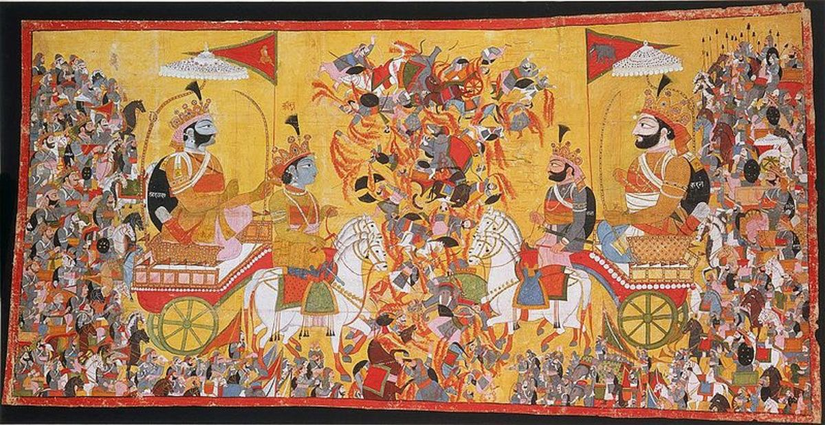 Karna cumple Arjuna en la guerra de Mahabharata