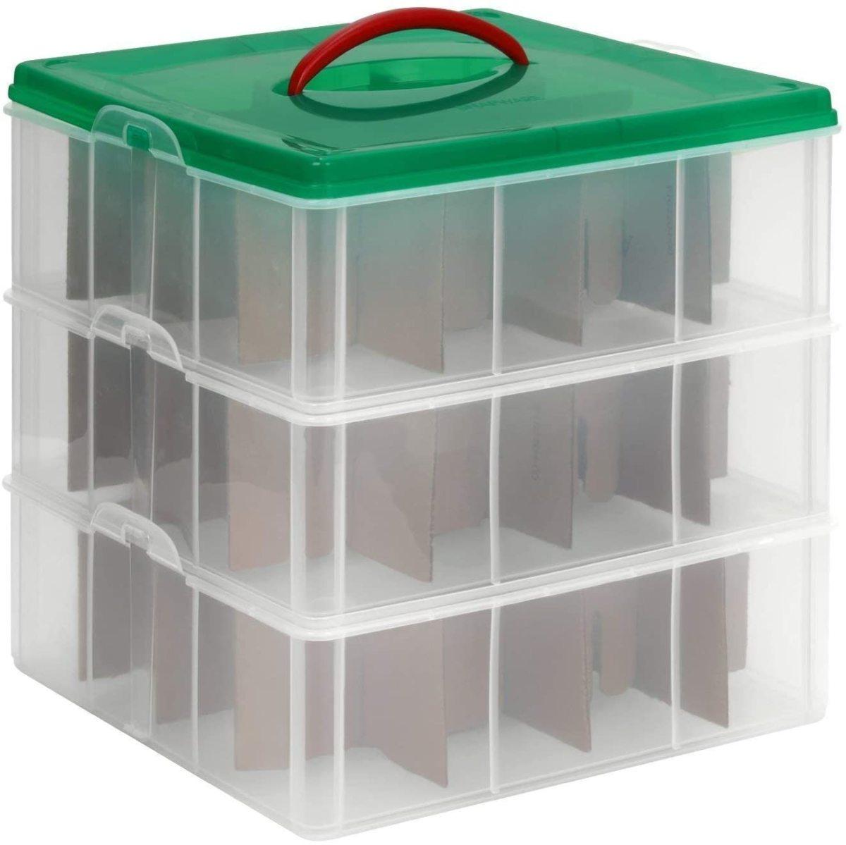 Snapware 3 tier seasonal ornament storage container.