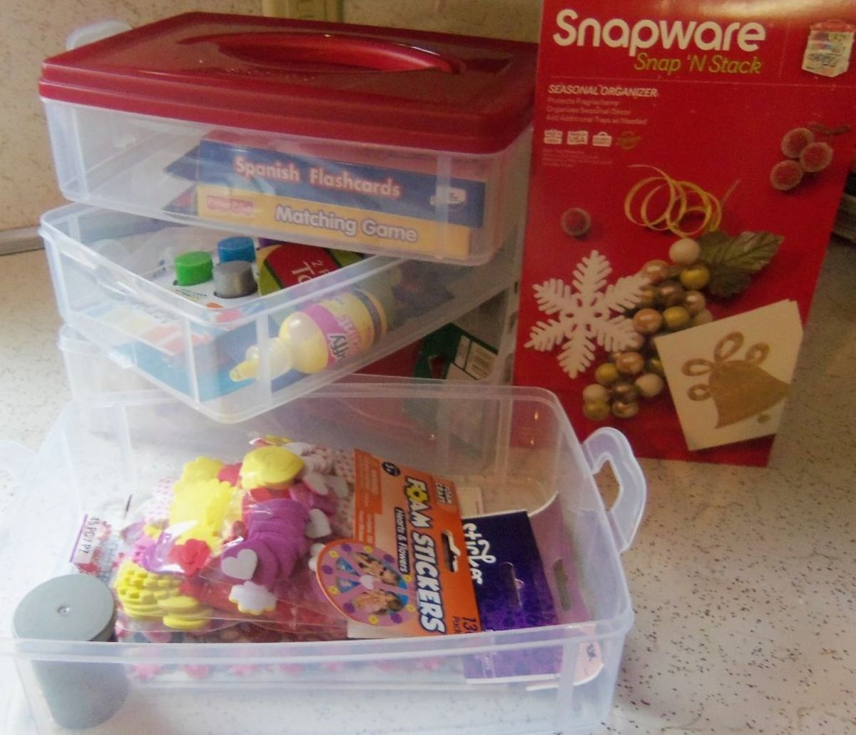 Four storage bins come apart for easy access.