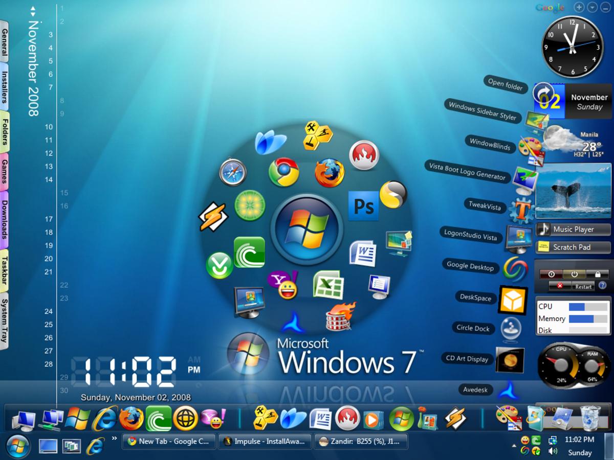 Screenshot of Windows 7 gadgets widget