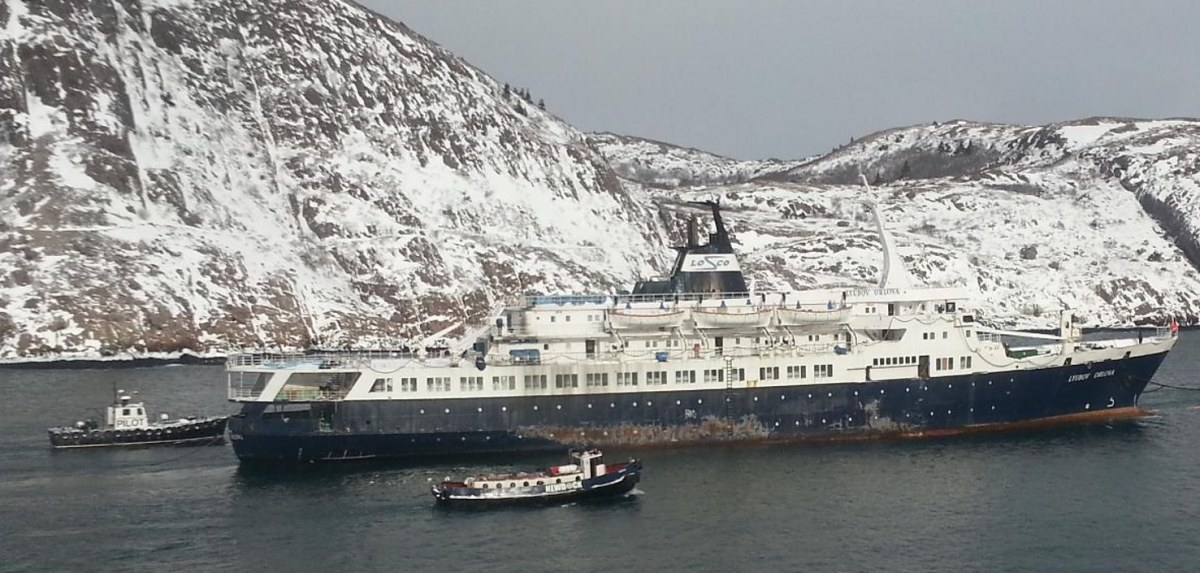The Lyubov Orlova undertow out of St. John's Harbour. She would break away from her tow line the following day.