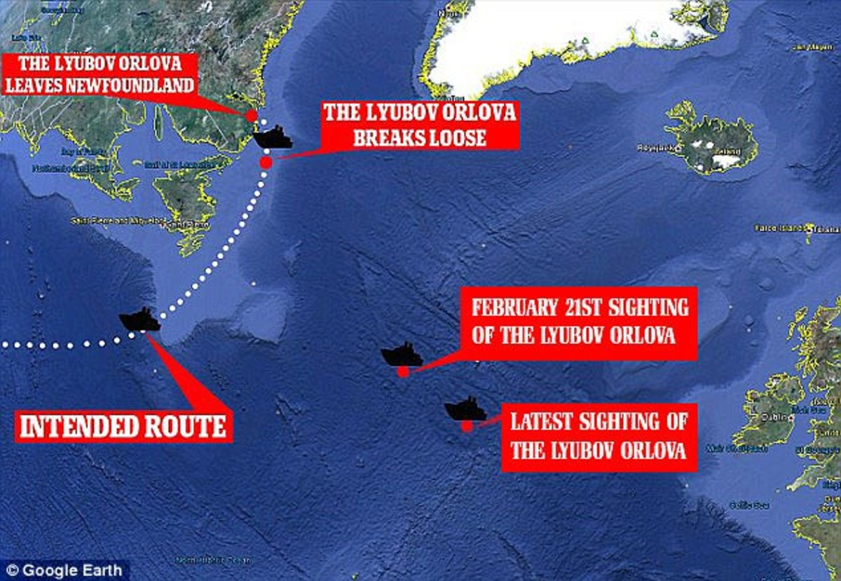 This map shows the last two confirmed sightings of the Lyubov as it drifted across the Atlantic.