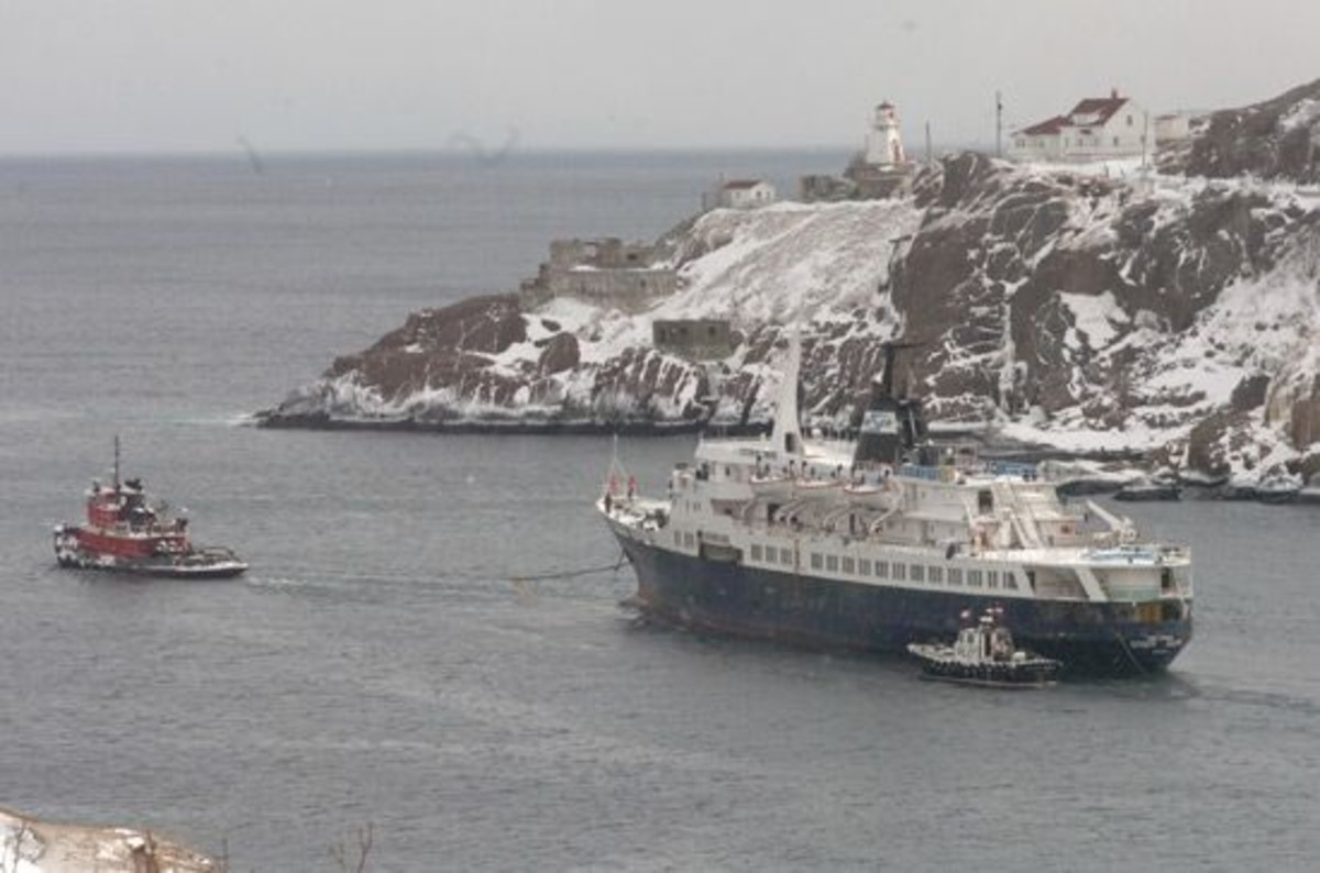 Under tow, this is one of the last pictures of the Lyubov Orlova before she broke loose from her tow lines.