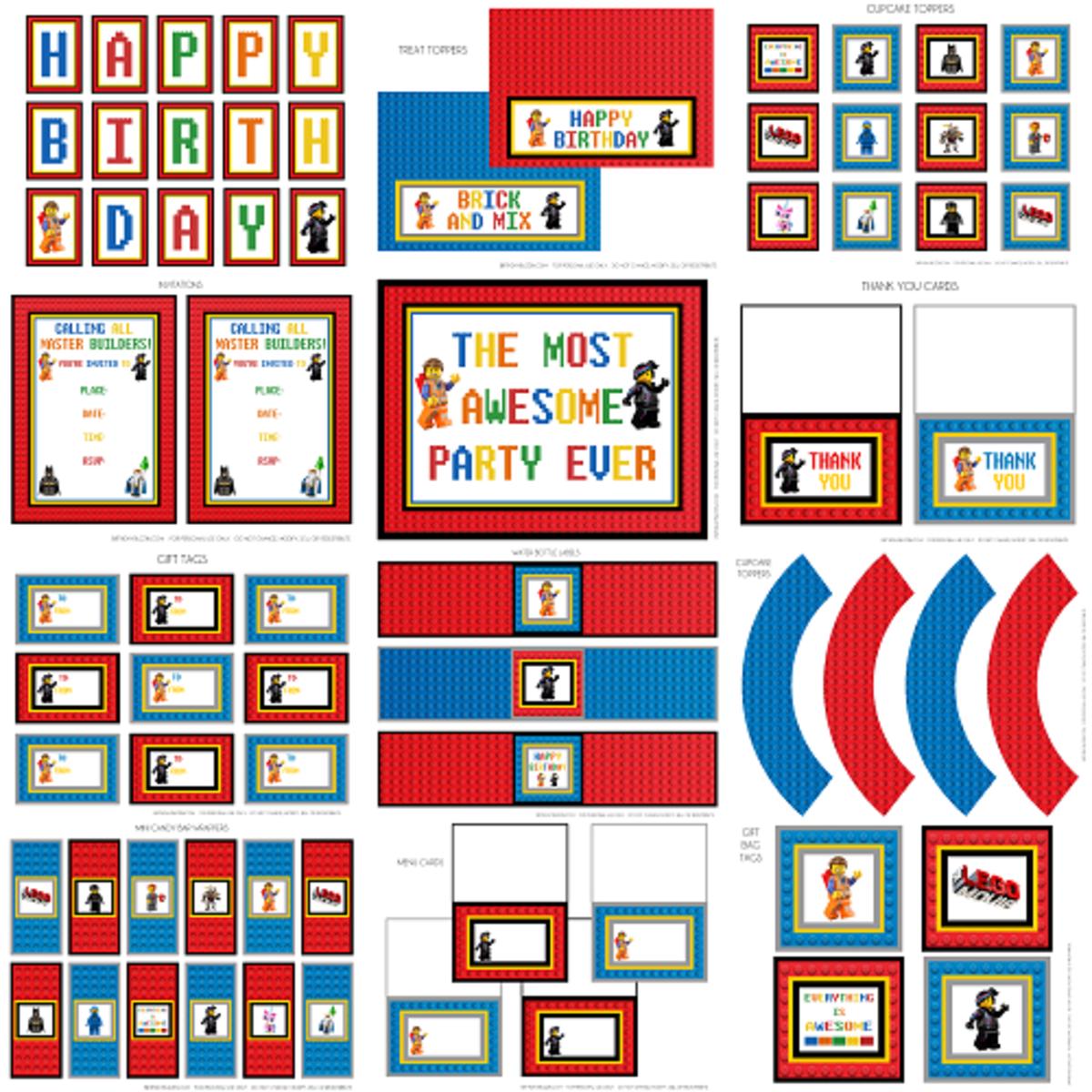 Lego Movie birthday party printable kit