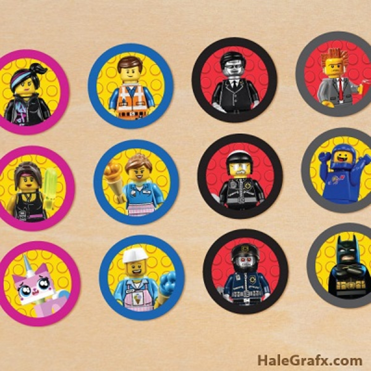Free Lego Movie cupcake toppers