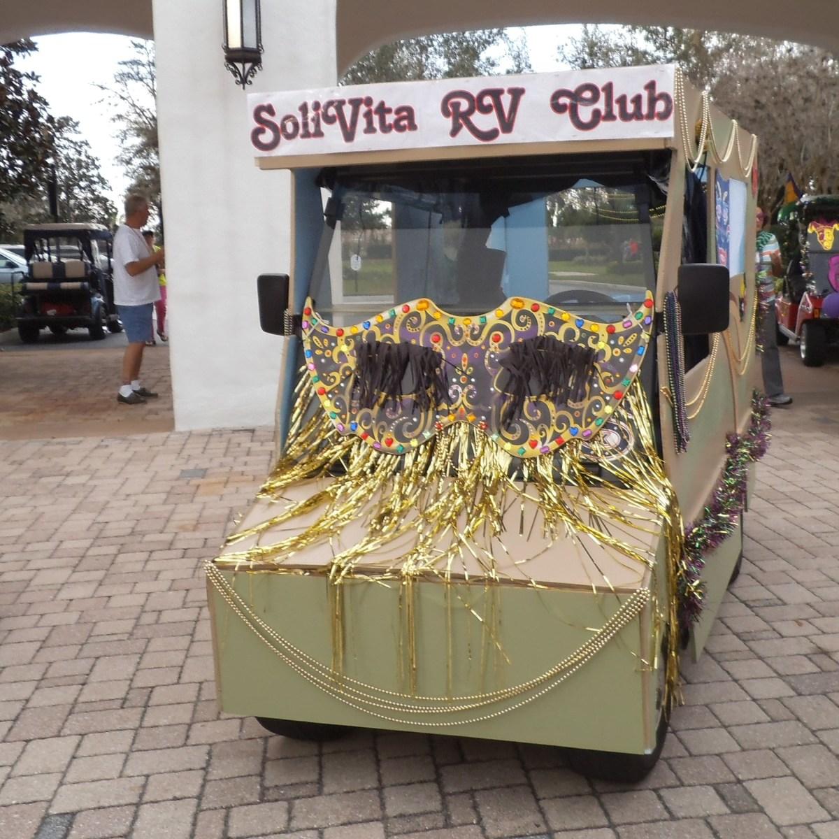 Solivita RV Club Mardi Gras golf cart parade