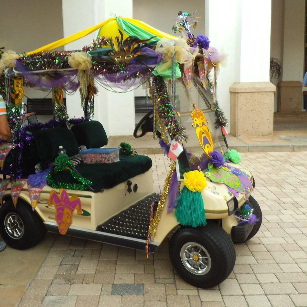 mardi gras golf cart