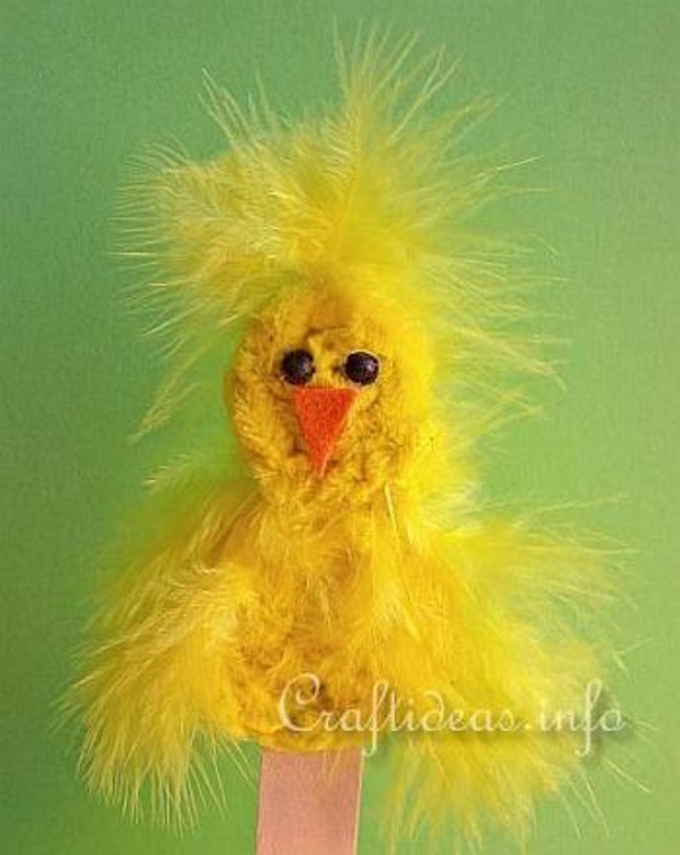 Feathered Chick Puppet or Bookmark Craft for kids
