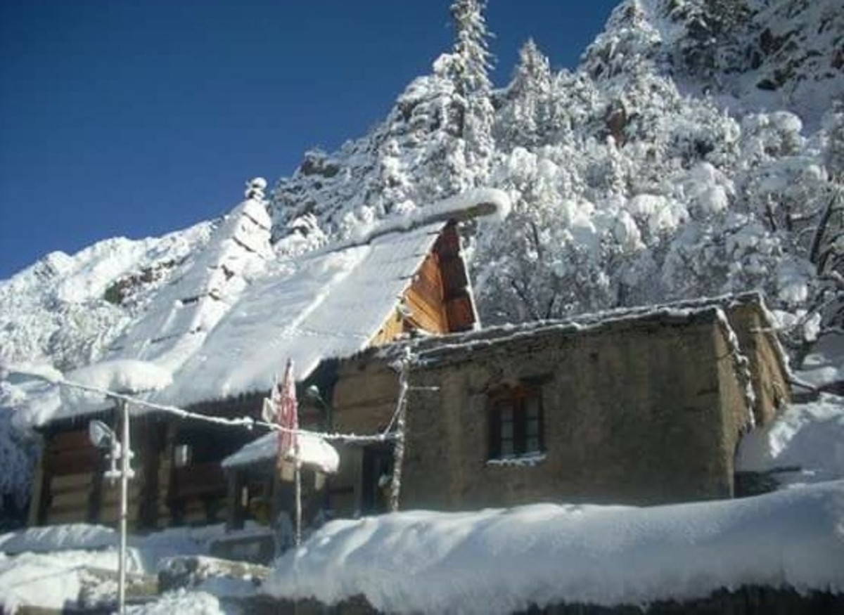 The temple of Mrikula Devi covered by snow