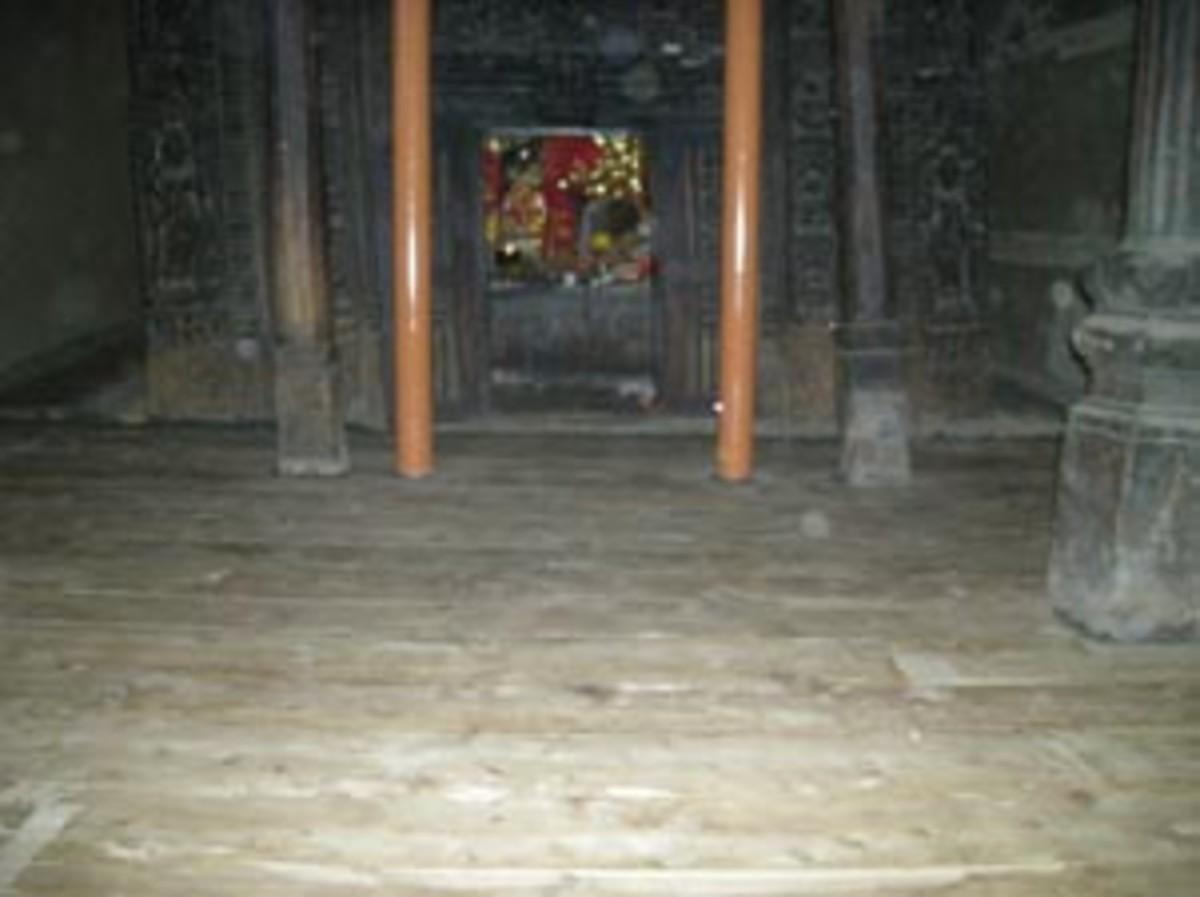 Wooden Interiors of Mrikula Devi Temple