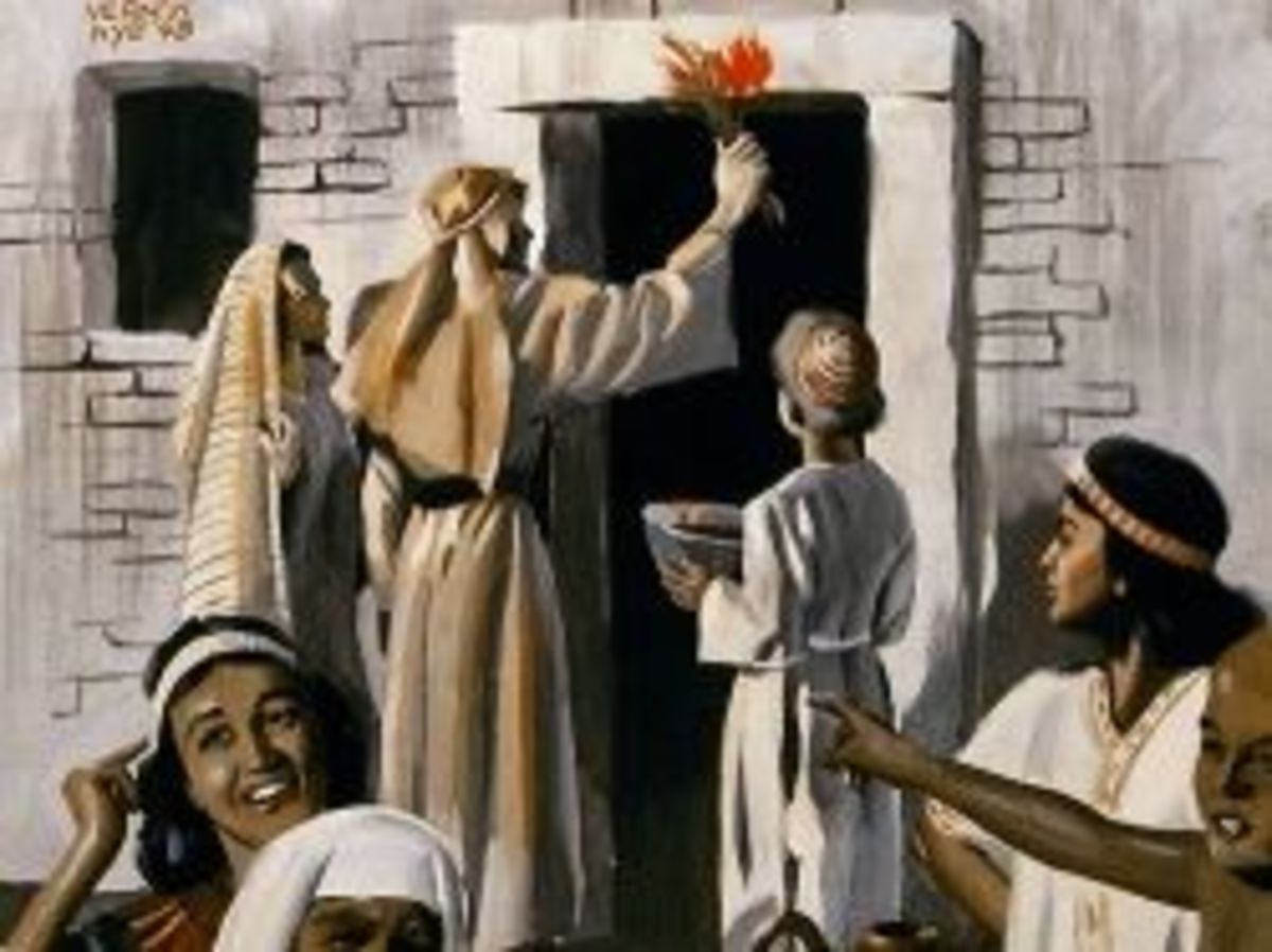 Hebrews Placing Blood on the Lintel with Egyptian Onlookers