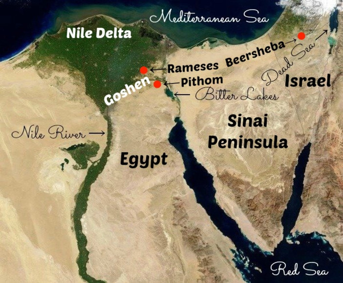 Map of the Israelites' Goshen Region in Egypt and the cities of Pithom and Rameses