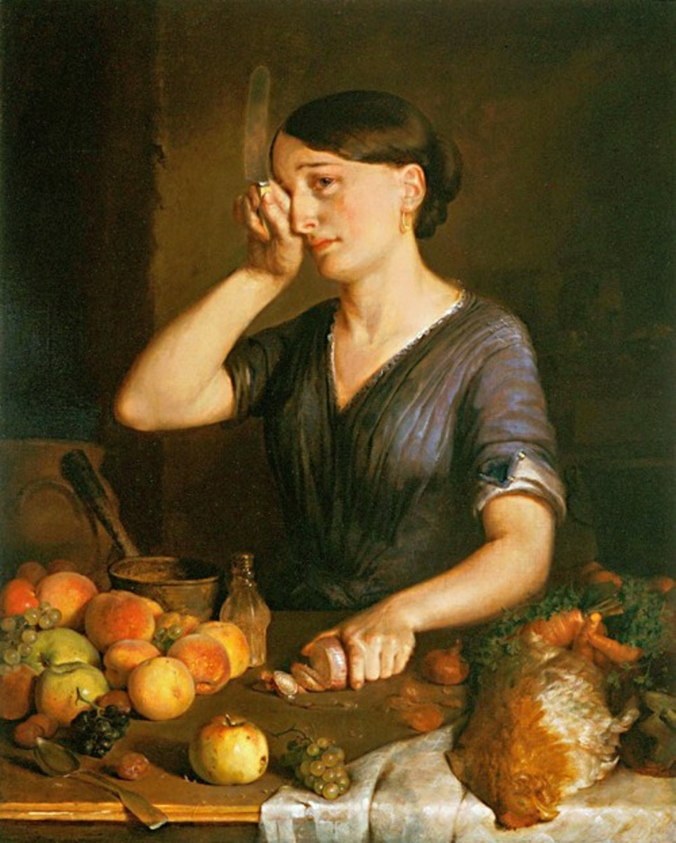 Lilly Martin Spencer 1822 –1902 Painting  Peeling Onions
