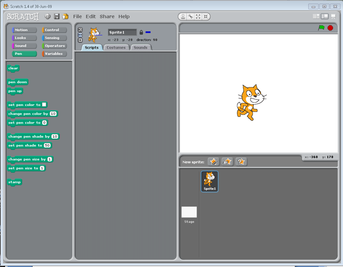 A view of the main Scratch user interface (version 1.4).