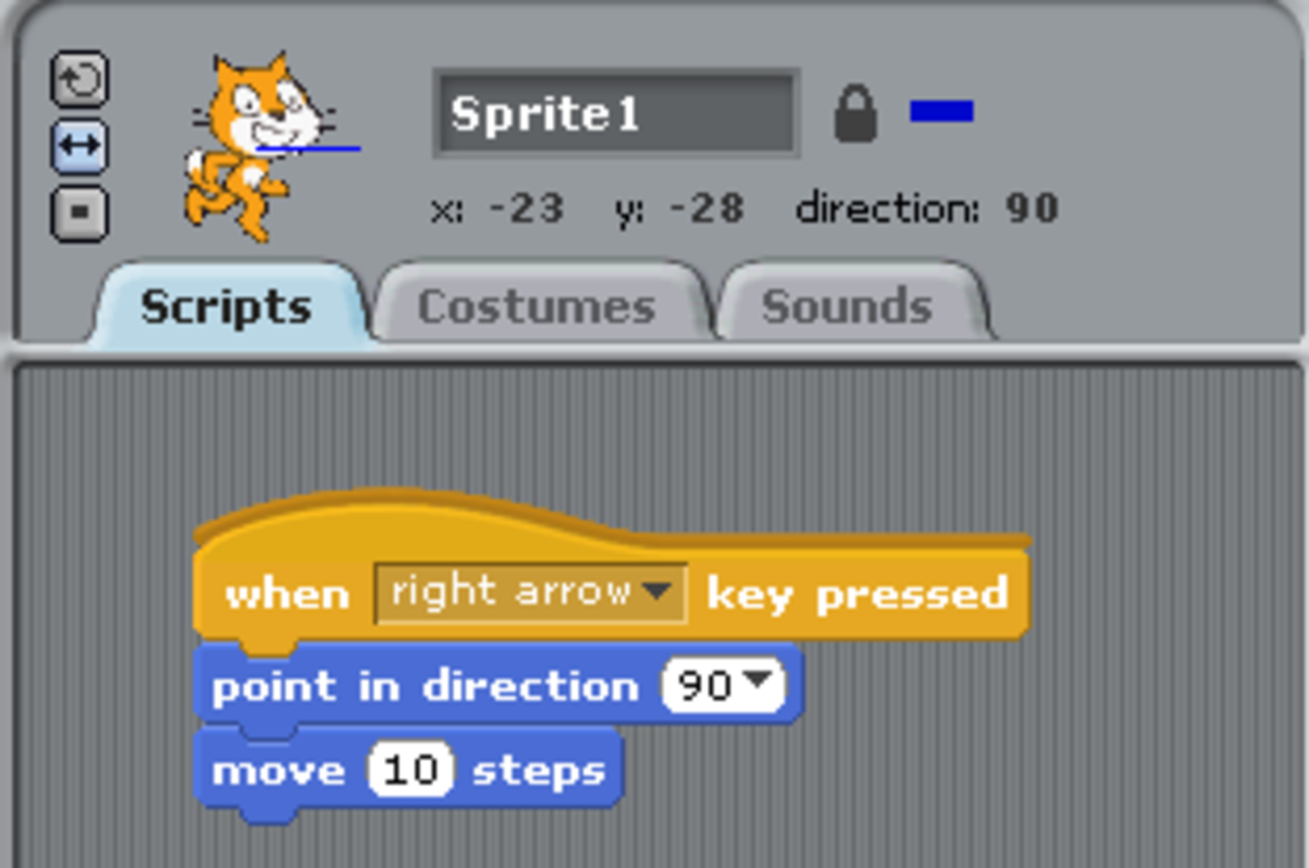 Our simple programme created combining blocks in Scratch.
