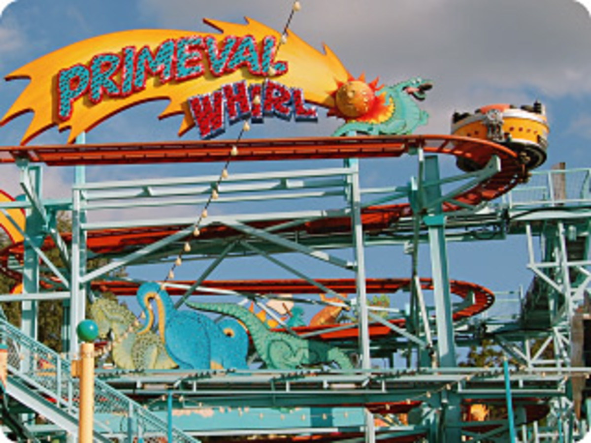 Twist, turn and dip on Primeval Whirl, a fun remake of a classic carnival ride.