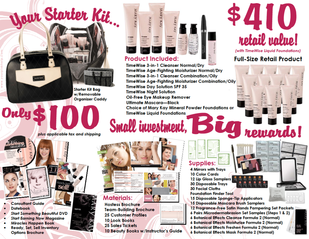 Everything that is included in a Mary Kay Starter Kit, only $100 plus shipping and tax