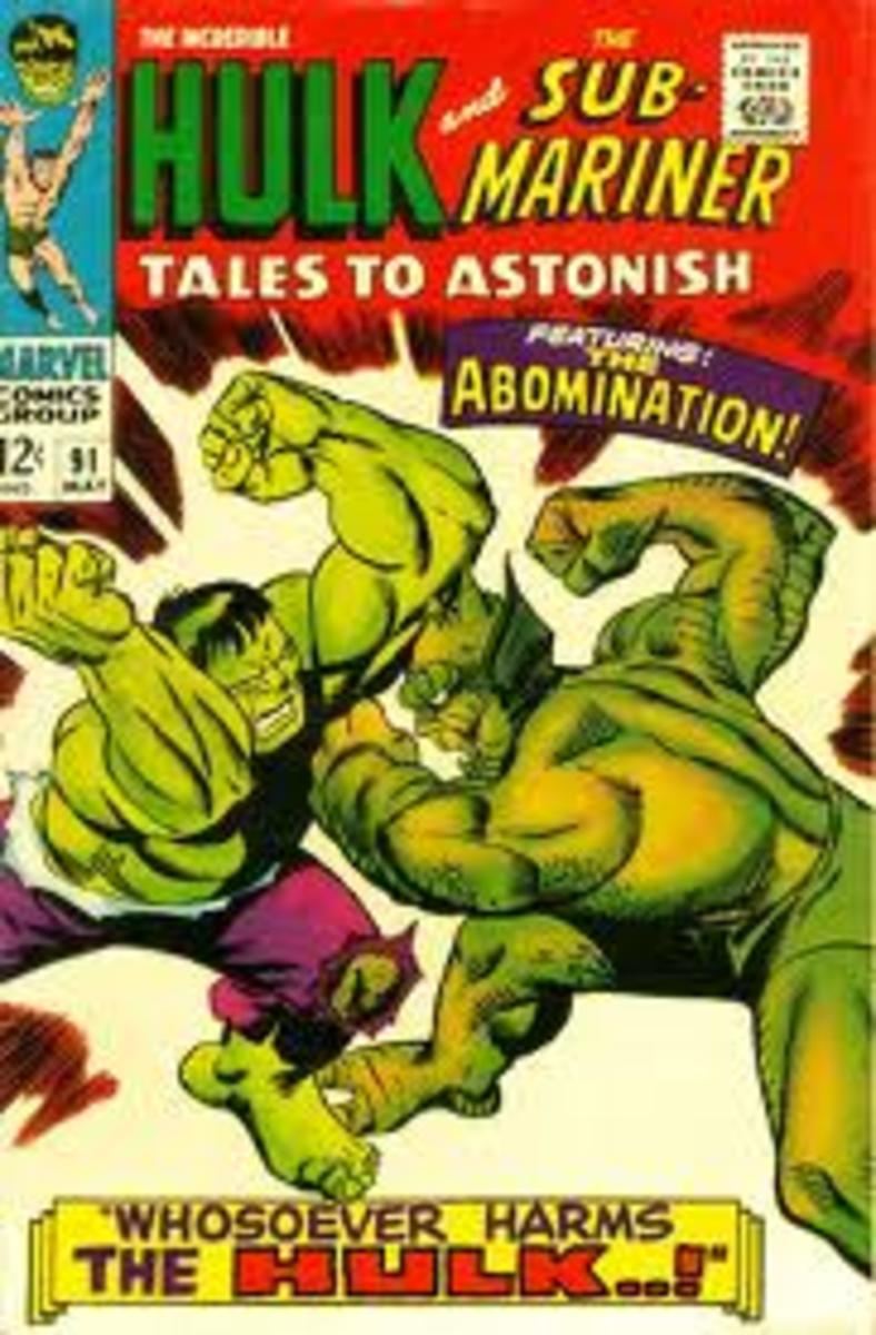 Hulk battles with Abomination on the cover of Tales To Astonish # 91.