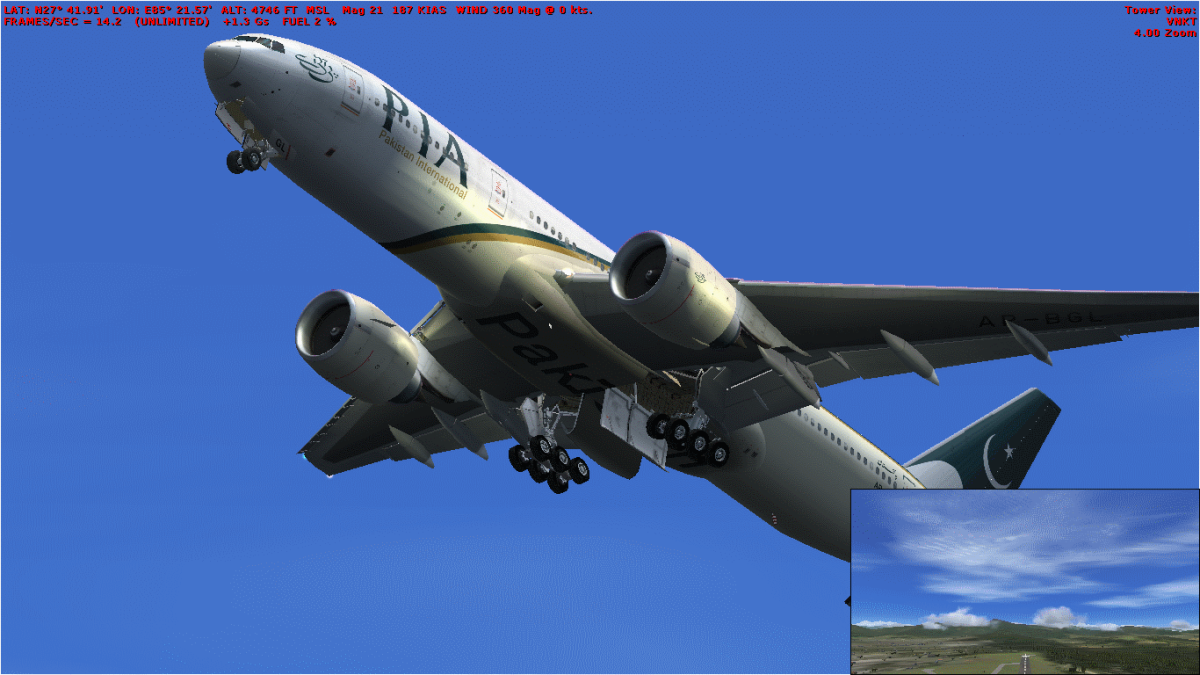 Just took off in this Boeing 777-200ER aircraft in fsx. My laptop with an i3 processor gives up to 35 frames per second.