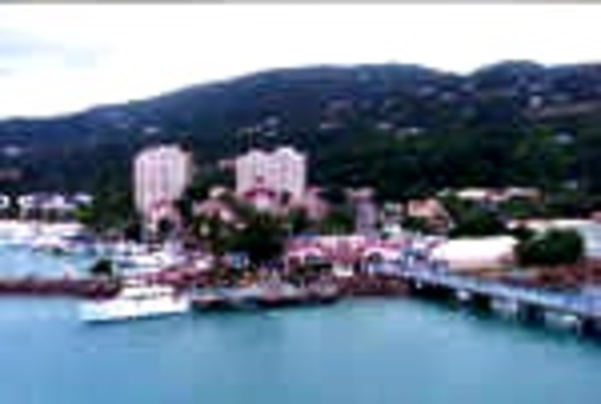 This picture was taken from the ship, and is similar to the view I had while parasailing
