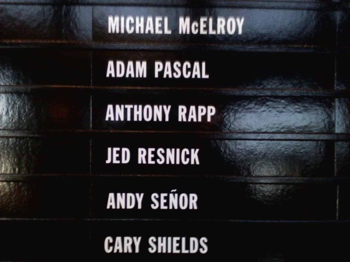 "Cast list at NJPAC ""RENT: Broadway Tour""   2010.Nov.27 [Anthony Rapp and Adam Pascal originated Mark and Roger]"