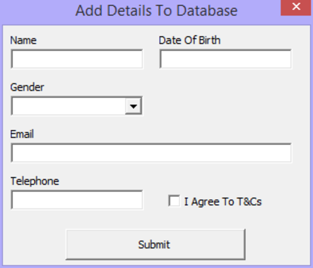 Excel VBA - Using A UserFrom To Populate A Database
