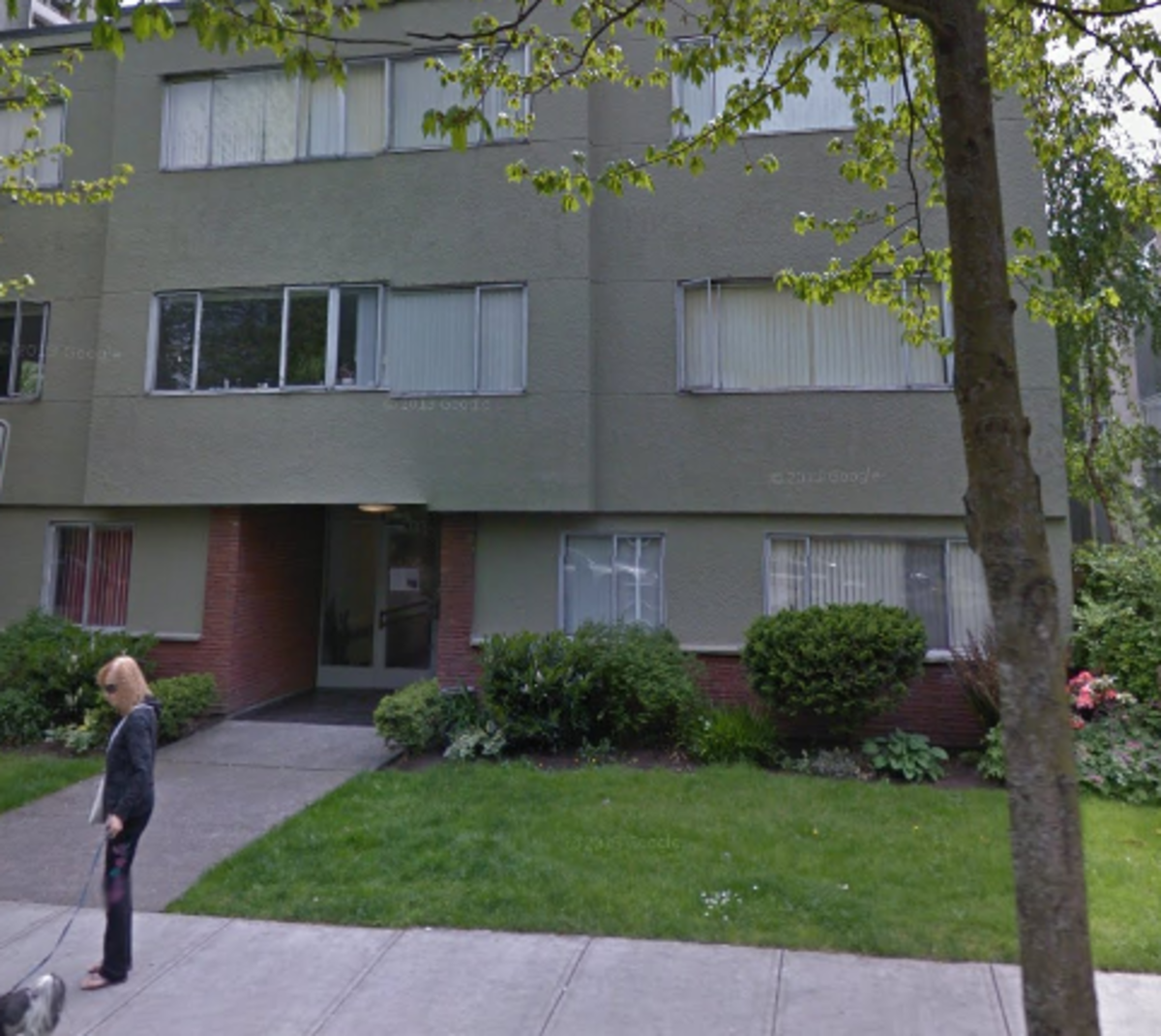 An apartment block typical of that occupied by  young families in Vancouver's densely-populated West End in the 1970s