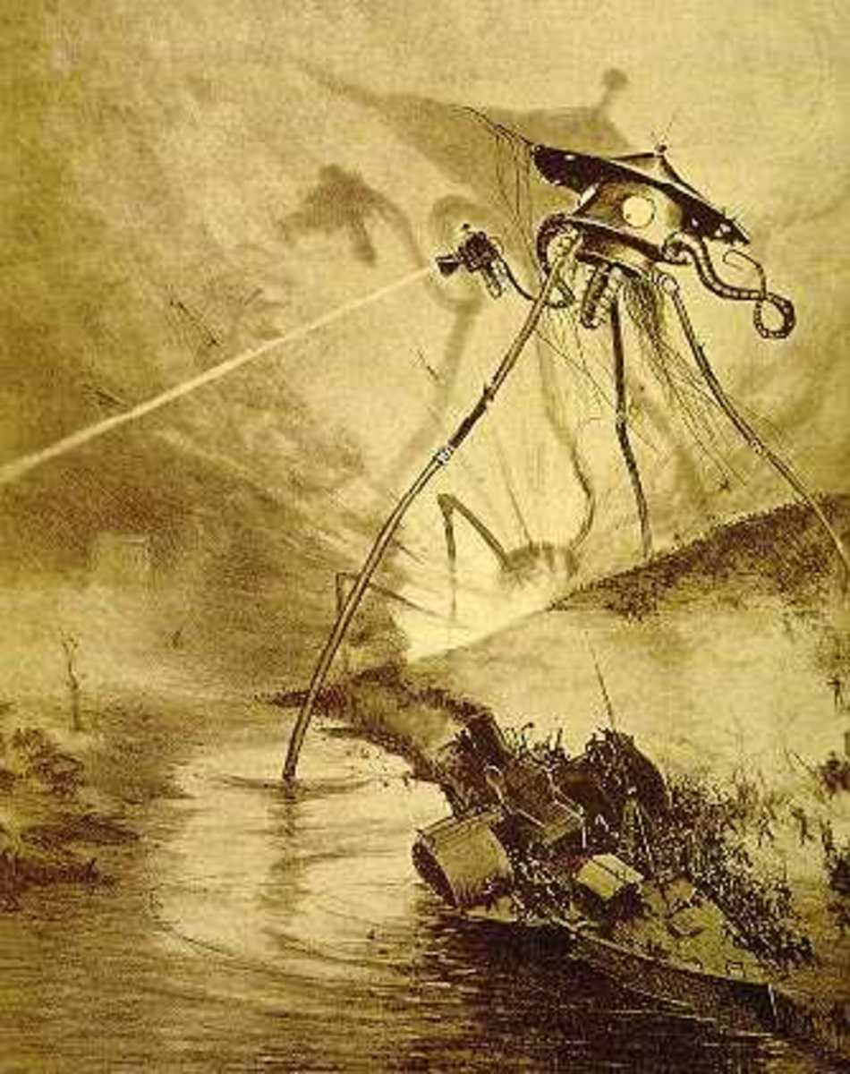 "From the 1906 French edition of H.G. Wells' ""War of the Worlds"""