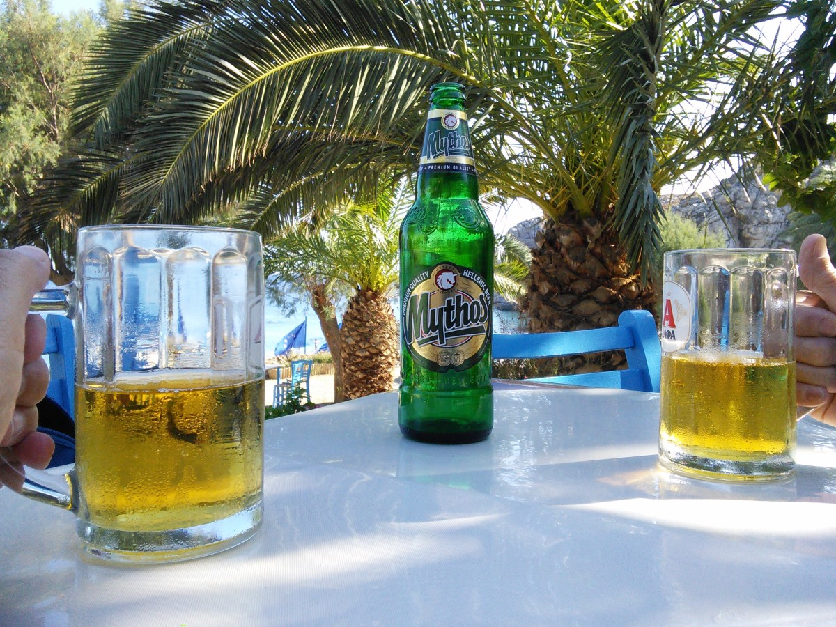 Mythos Beer at Plakias Beach Bar