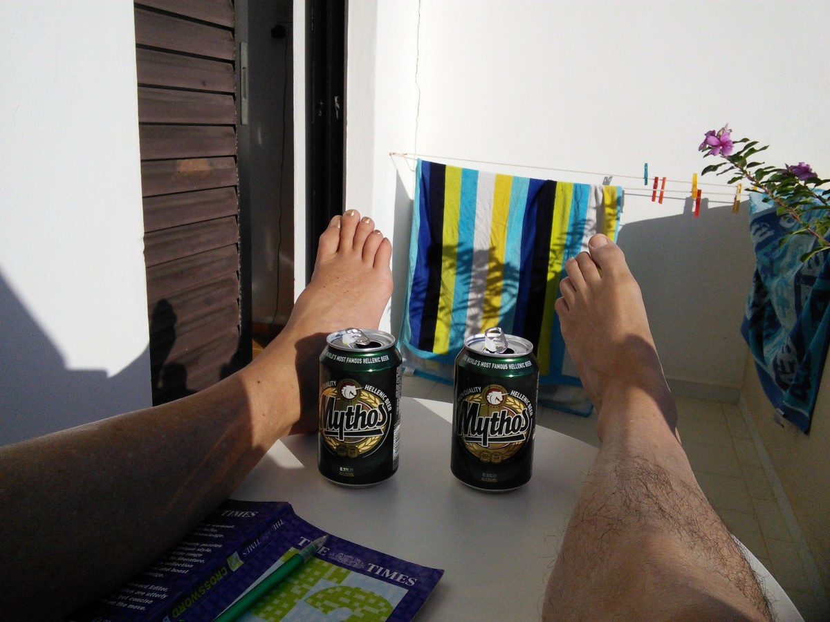 Relaxing Over A Mythos Beer