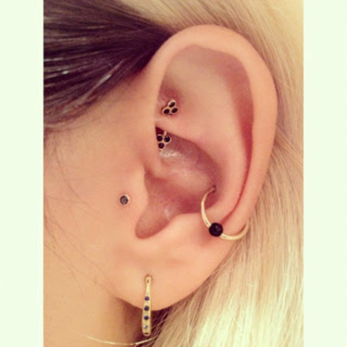 Rook, tragus, orbital, and lobe piercings