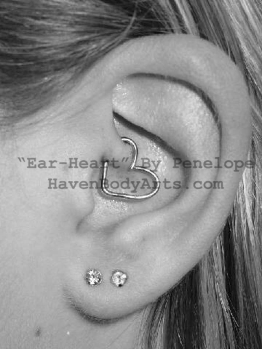 Daith and lobe piercings