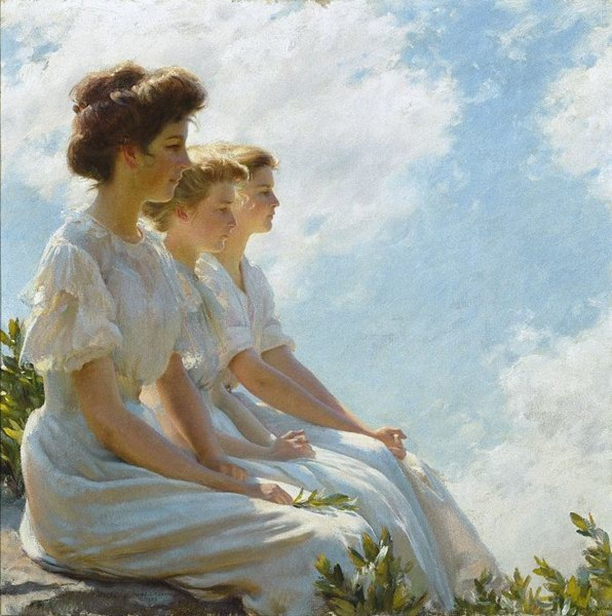 This image is of three women with their hair up, on what seems to be high bluffs.  They are overlooking something below.  Very elegant and beautiful I think!  This oil on canvas painting is located at the Brooklyn Museum. Circa 1909