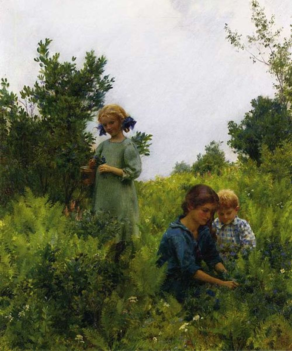 Two girls and a young boy, picking blueberries among the ferns.  I thought this was a very sweet painting.  1911, by Charles Courtney Curran.