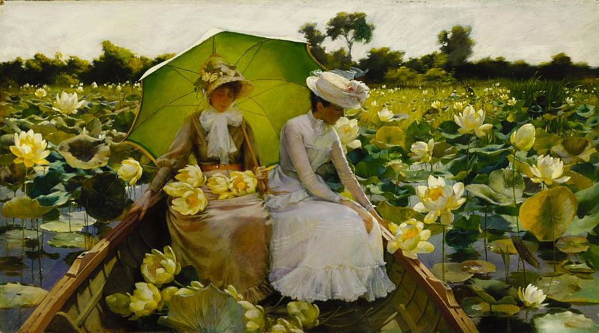 An exquisite painting of ladies in a boat with lotus blossoms all around.  A very gorgeous piece of art!  Oil on canvas, and in the collection of Daniel J. Terra.  Terra Museum of American Art in Chicago, Illinois.